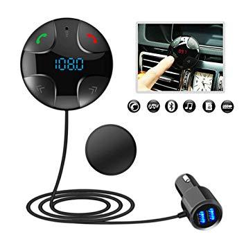 Micro Int/égr/é Aigoss Transmetteur FM Mains Libres Bluetooth 5.0 Lecteur MP3 de Voiture avec Port USB Chargeur Rapide 3.0 Adaptateur Bluetooth Autoradio Kit